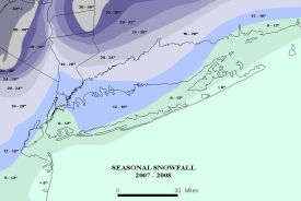 Seasonal snowfall totals for Long Island and vicinity, winter of 2007-2008