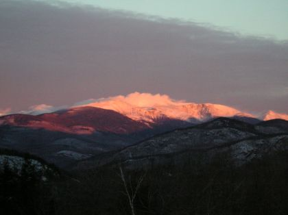 Sunrise on Mount Washington, February 12, 2004.  Photo courtesy of J. Redfern