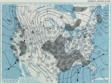 January 19, 1978 - Surface Weather Map  at 7:00 A.M., E.S.T.  Courtesy of the NOAA Central Library Data Imaging Project.