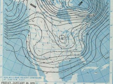 January 20, 1978 - 500 mb height contours at 7:00 A.M., E.S.T.  Courtesy of the NOAA Central Library Data Imaging Project.
