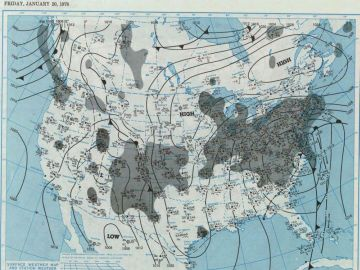 January 20, 1978 - Surface Weather Map  at 7:00 A.M., E.S.T.  Courtesy of the NOAA Central Library Data Imaging Project.