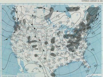 January 21, 1978 - Surface Weather Map  at 7:00 A.M., E.S.T.  Courtesy of the NOAA Central Library Data Imaging Project.