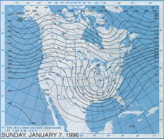 Blizzard of 1996 - 500 millibar chart, January 7, 1996.  Courtesy NOAA Central Library Data Imaging Project.