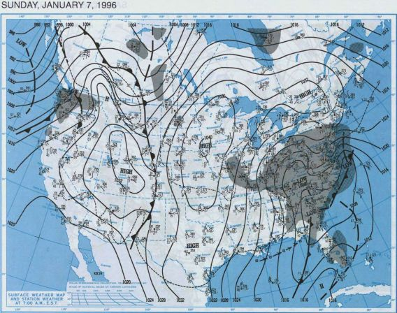 Blizzard of 1996 - Surface Map, January 7, 1996.  Courtesy NOAA Central Library Data Imaging Project.