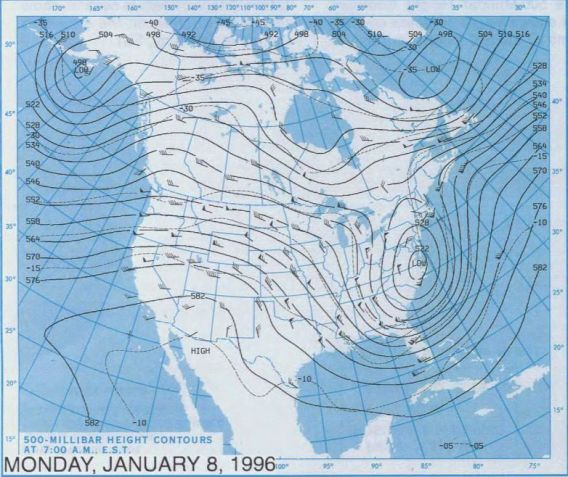 Blizzard of 1996 - 500 millibar chart, January 8, 1996.  Courtesy NOAA Central Library Data Imaging Project.