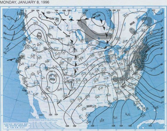Blizzard of 1996 - Surface Map, NY, January 8, 1996.  Courtesy NOAA Central Library Data Imaging Project.