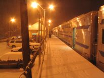 Snowfall at the Smithtown railroad station, February 24, 2005